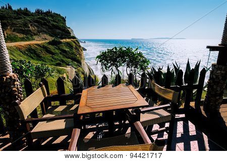 Cafe on Logas Sunset beach Perulades Corfu