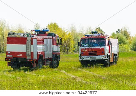 BORYSPIL, UKRAINE - MAY, 20, 2015: Red firetruck Tatra ride on call fire suppression and mine victim