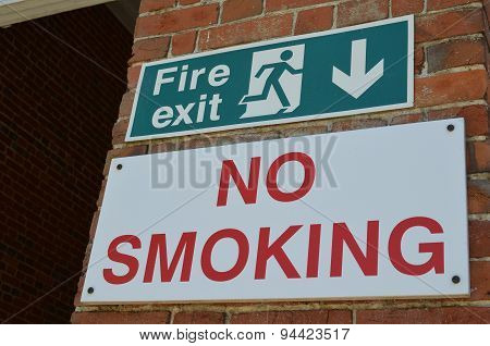 Fire exit and no smoking sign.
