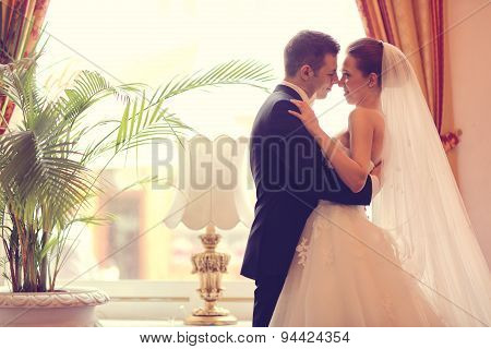 Bride And Groom In The Hotel