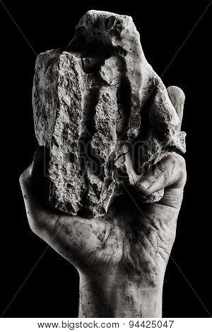 Rock In Male Hand