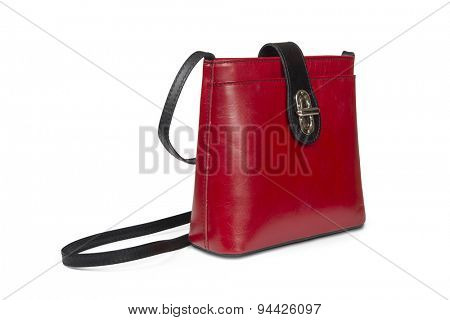 Leather handbag isolated over white with clipping path.