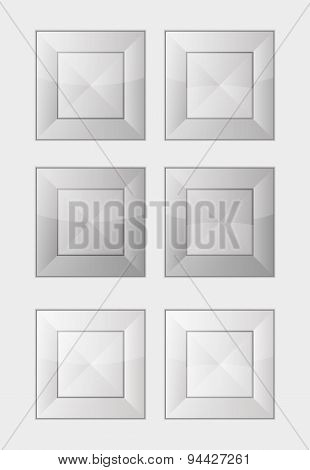 Six Gray Square Badges Or Buttons