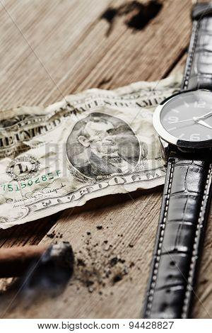 Dollar, Watch And Cigar