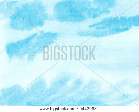 Painted blue watercolor cloud and sky.