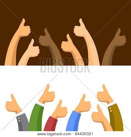 Thumbs Up Symbols Set. Vector