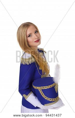beautiful blond woman  cheerleade drummer isolated on white background
