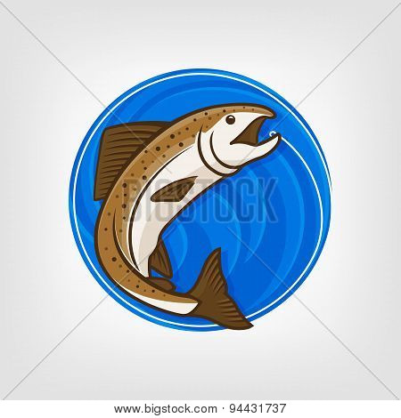 Fishing logo template - Vector Illustration.