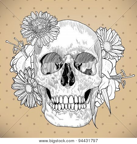 Vintage Greeting Card with Hand Drawn Skull and Flowers