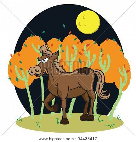 horse in a wood cartoon illustration