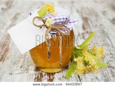 Jar Of Honey And Linden Flowers