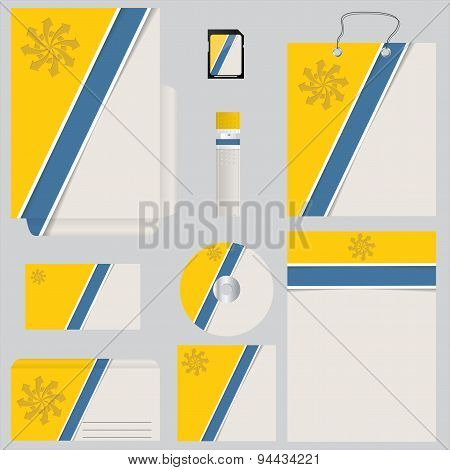 Blue Yellow Business Set With Striped Design