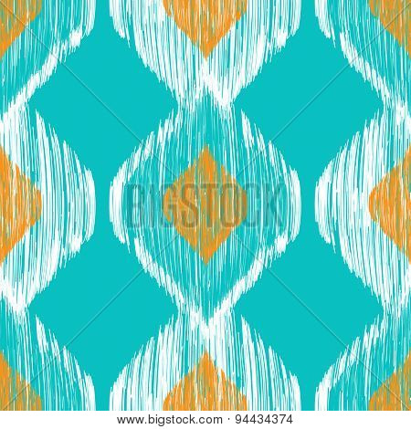 Seamless ikat pattern in yellow and blue colors. Tribal background