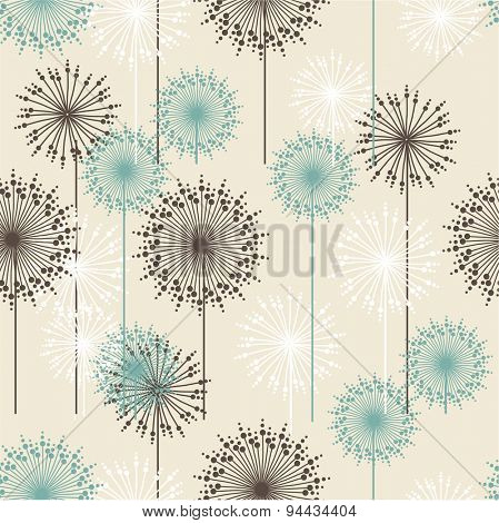 Vintage floral pattern in pastel colors. Hand drawn chrysanthemums flowers.Retro illustration for design of gift packs, wrap,  patterns fabric, wallpaper, web sites and other.