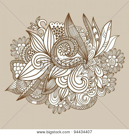 Hand drawn abstract doodle card design.Brown and beige floral background. Retro illustration for design of gift packs, wrap,  greeting cards, wallpaper, web sites and other.