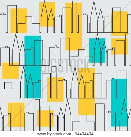 Pattern with city houses in black and white
