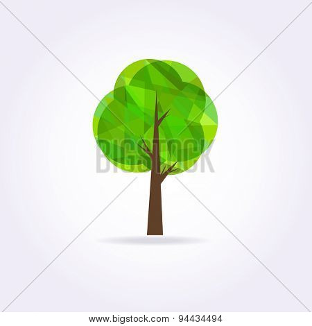 Low poly green tree ocon . Geometrical illustration.