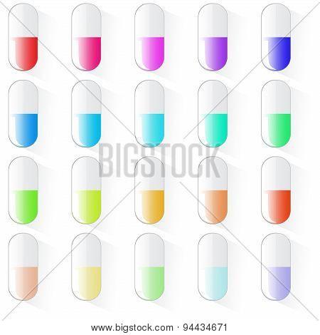 Medical pills set, different colors vectors