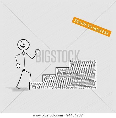 Man And Stairs To Success