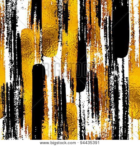 Seamless Trendy Blog Background Textures With Hand Drawn Gold And Black Ink Design Elements. Vector