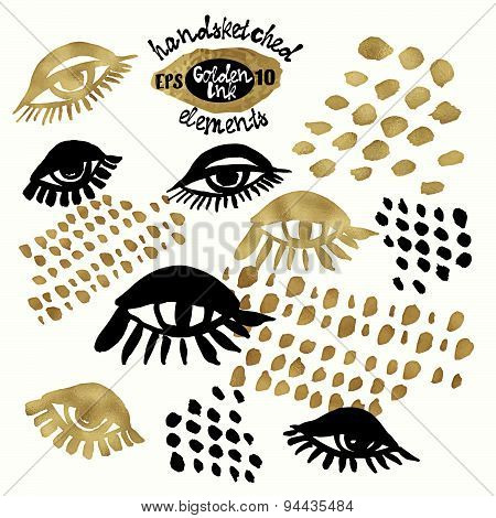 Set Of Trendy Blog Background Design Elementswith Handdrawn Gold And Black Ink. Vector Eps10 Illustr