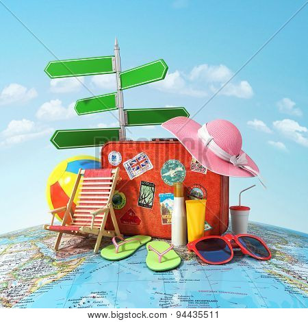 Recreation And Travel Concept. Road Sign, Old Suitcase For Travel, Beach Hat, Beach Ball,