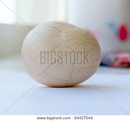 The crack white chicken egg.
