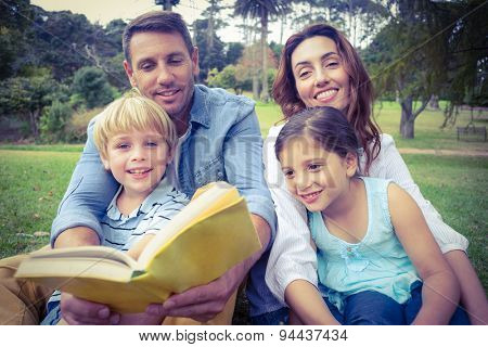 Happy familly reading a book in the park on a sunny day