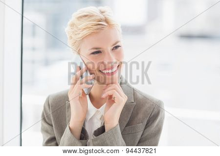 Smiling businesswoman on the phone in her desk