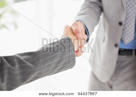 Business partners shaking hand together in an office