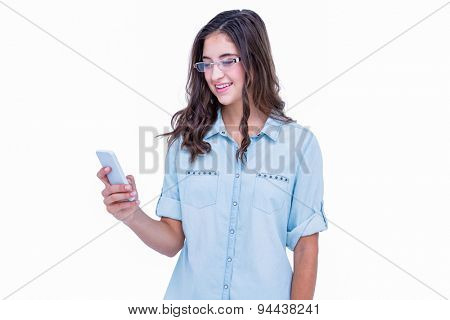 Pretty geeky hipster using her smartphone on white background