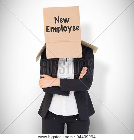 Businesswoman lifting box off head against white background with vignette
