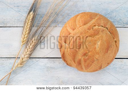 Traditional bread next to ears (wheat)