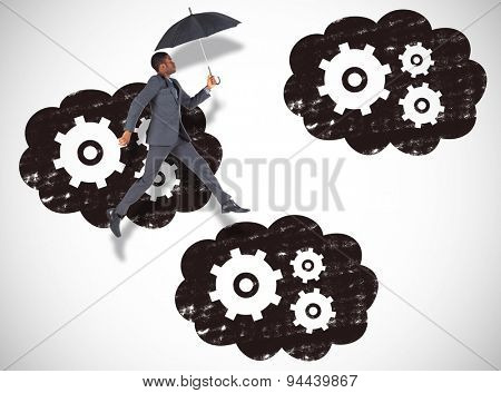 Businessman walking and holding umbrella against white background with vignette