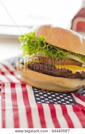 American Flag Cheeseburger