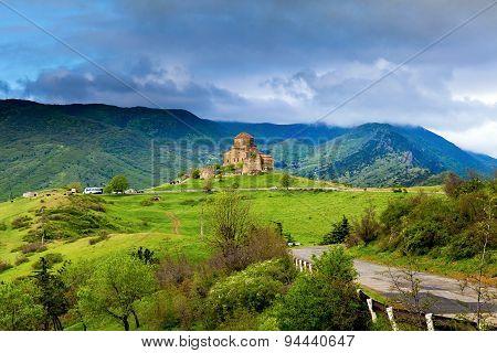 Panorama View Of Jvari Monastery Near Mtskheta In Georgia