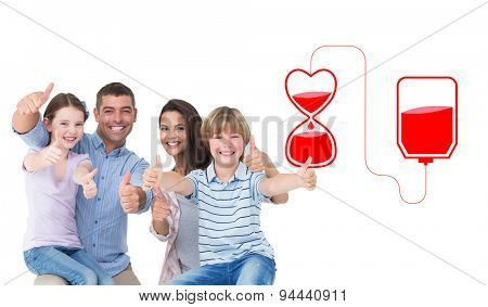 Happy family gesturing thumbs up against blood donation