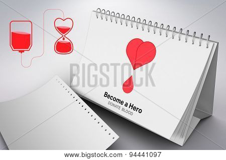 Blood donation against grey background