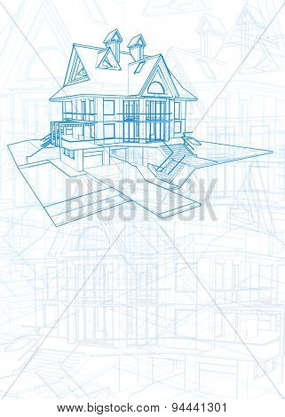 Architecture design: blueprint - house illustration