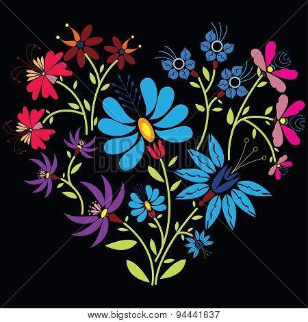 Color folk floral pattern in heart shape on black  background