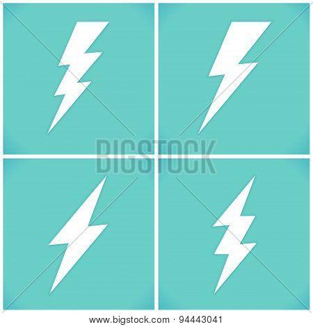 Set Of Flat Lightning Symbols Set