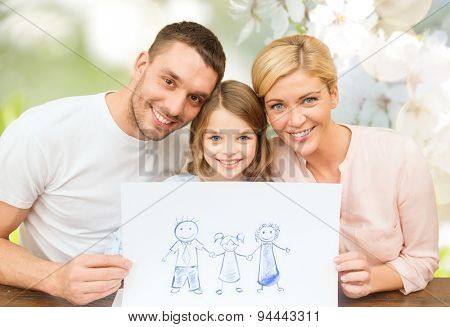 people, happiness, adoption and childhood concept - happy family with drawing or picture over green cherry blossom background