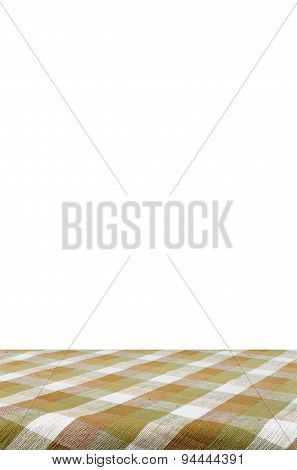 Picnic Table With Tablecloth Isolated On White Background With Clipping Path.