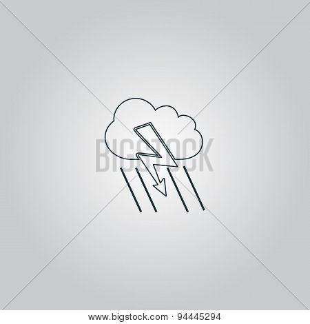 Cloud thunderstorm lightning rain icon