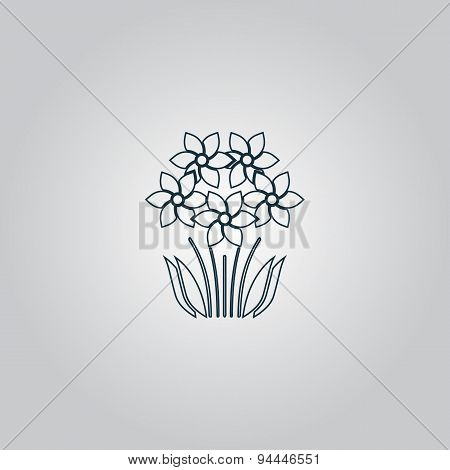 bush flower icon. Vector illustration