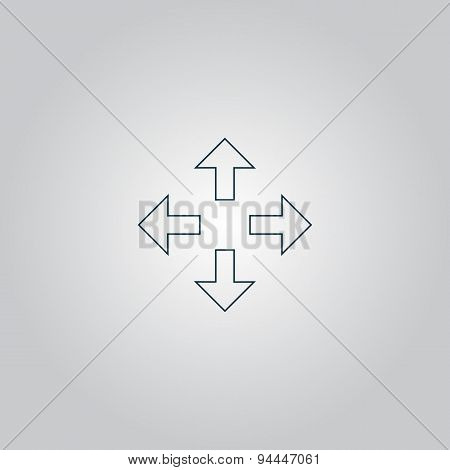 Arrows in four directions icon