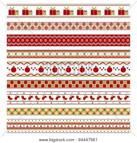 set of nine christmas decorative elements design