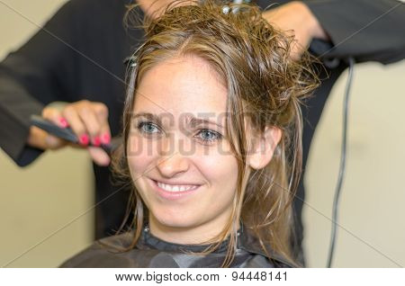 Hairdresser Styling Long Hair