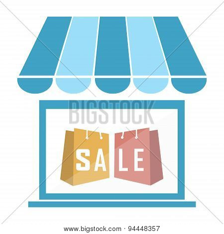 Shop Building With Shopping Bag Icon Illustration