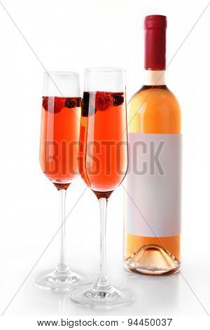 Glasses of champagne isolated on white